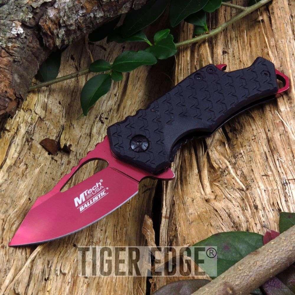 Spring-Assist Folding Pocket Knife   Mtech Red Blade Black Tactical Bottle Open