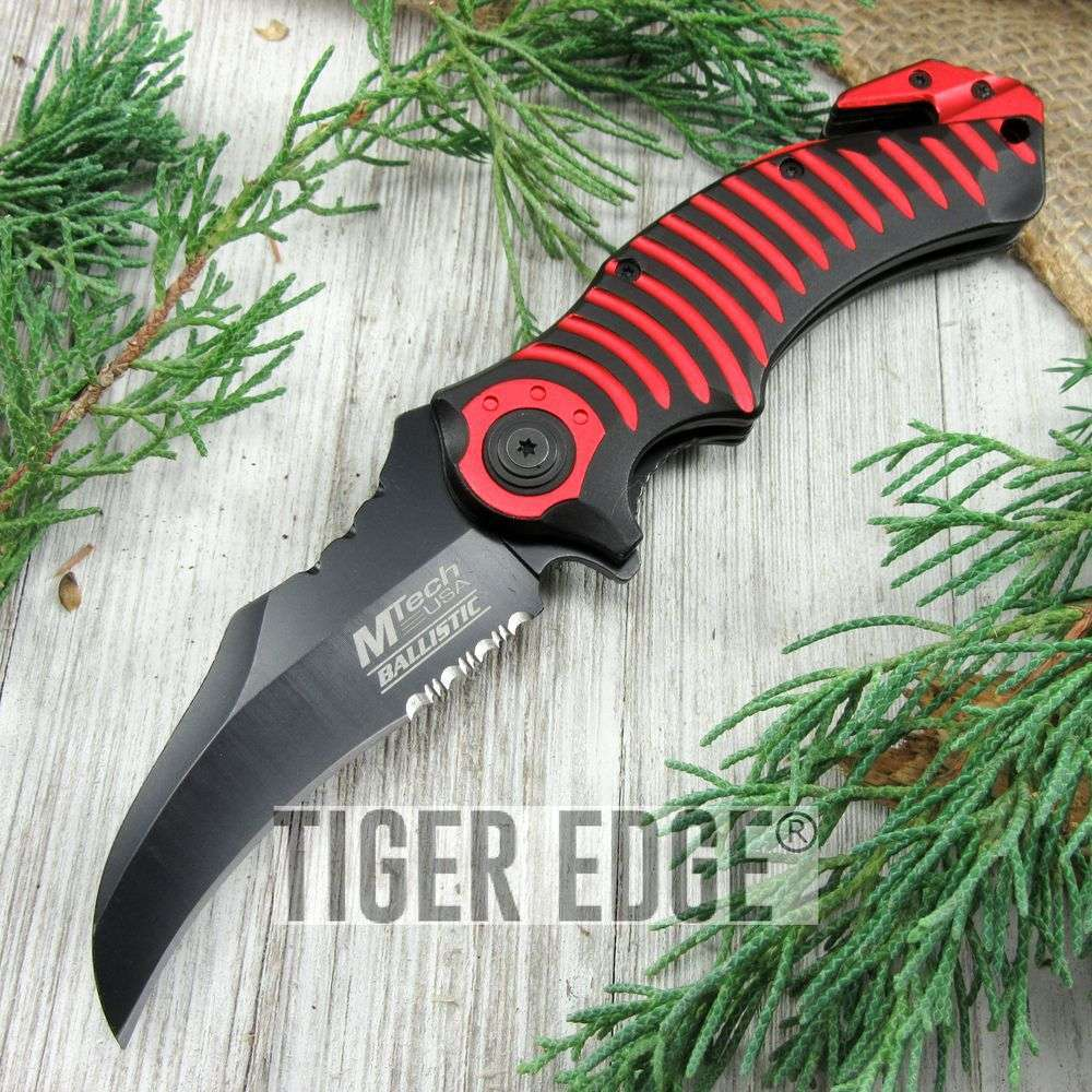 Spring-Assist Folding Pocket Knife Mtech Red Black Hawkbill Blade Rescue Tac
