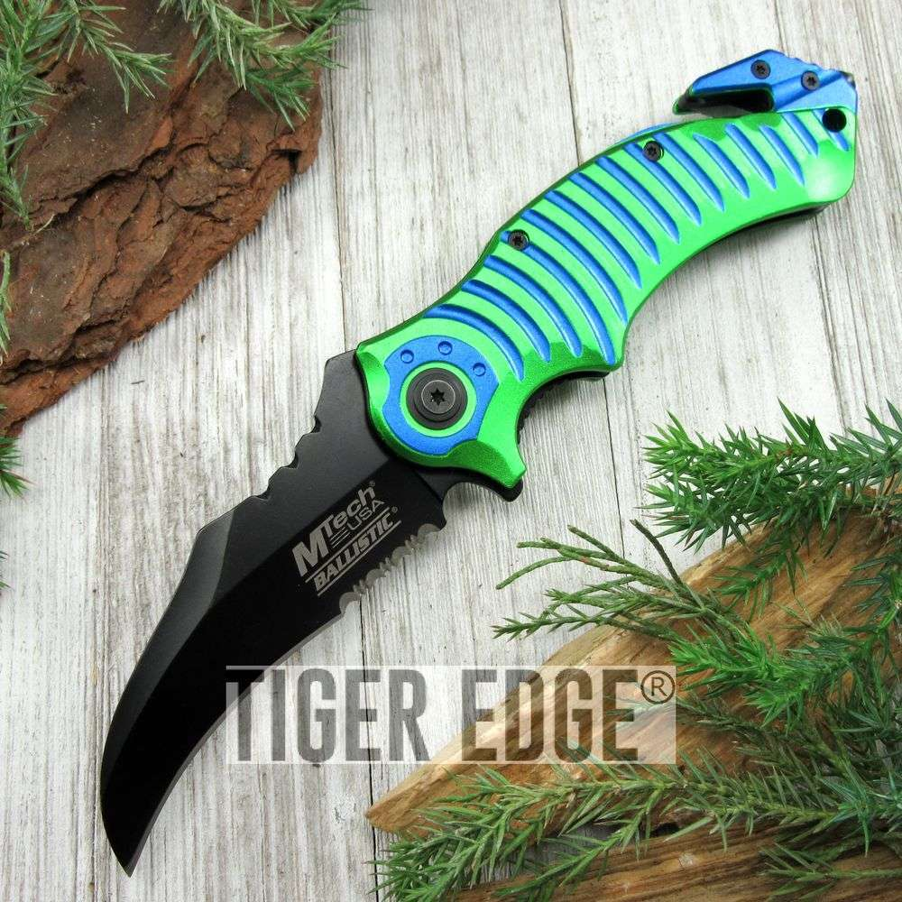 SPRING-ASSIST FOLDING POCKET KNIFE Green Blue Mtech Black Hawkbill Blade Tac
