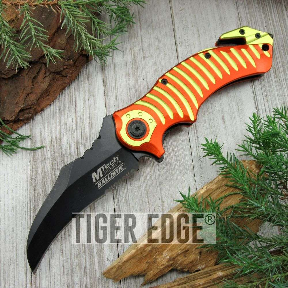 Spring-Assist Folding Pocket Knife Orange Yellow Mtech Black Hawkbill Blade Tac