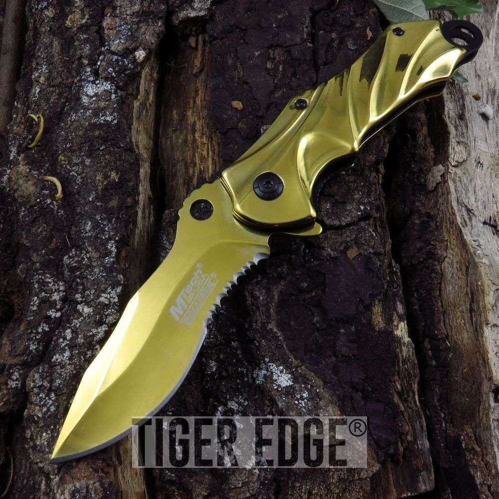 Mtech Ballistic Apocalypse Classic Gold Wave Spring Assist Folding Knife Edc