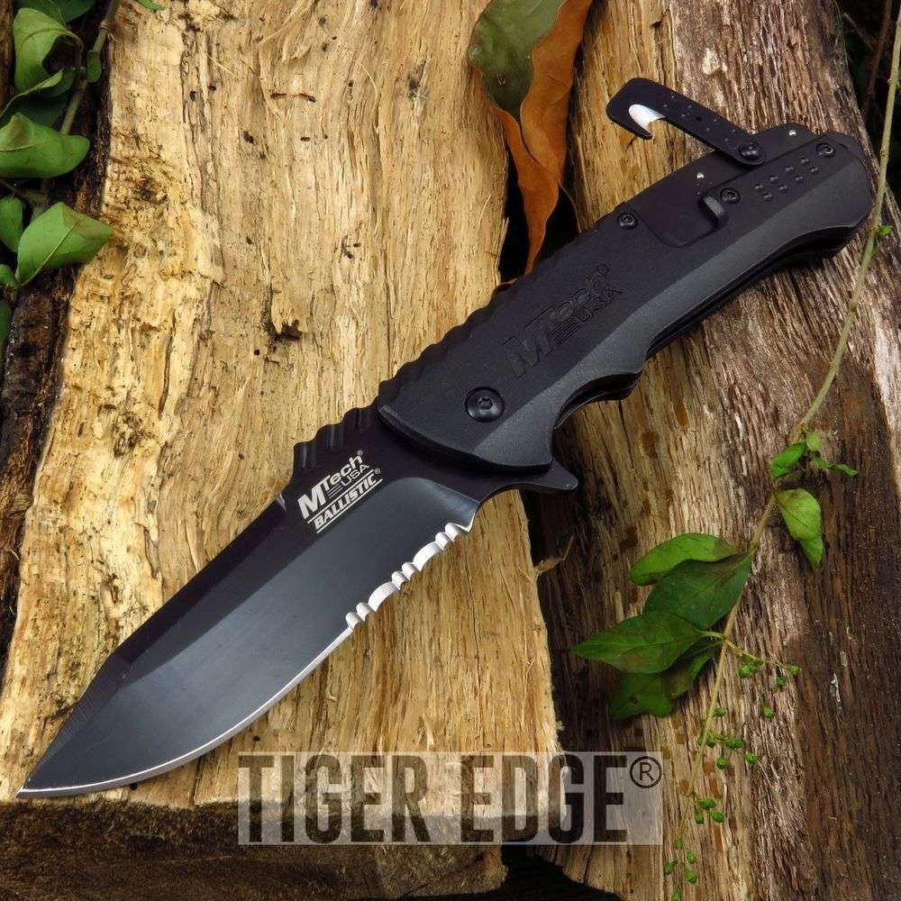 Spring Assist Folding Pocket Knife Mtech Black Tactical Blade Rescue  Mt-A889Bk