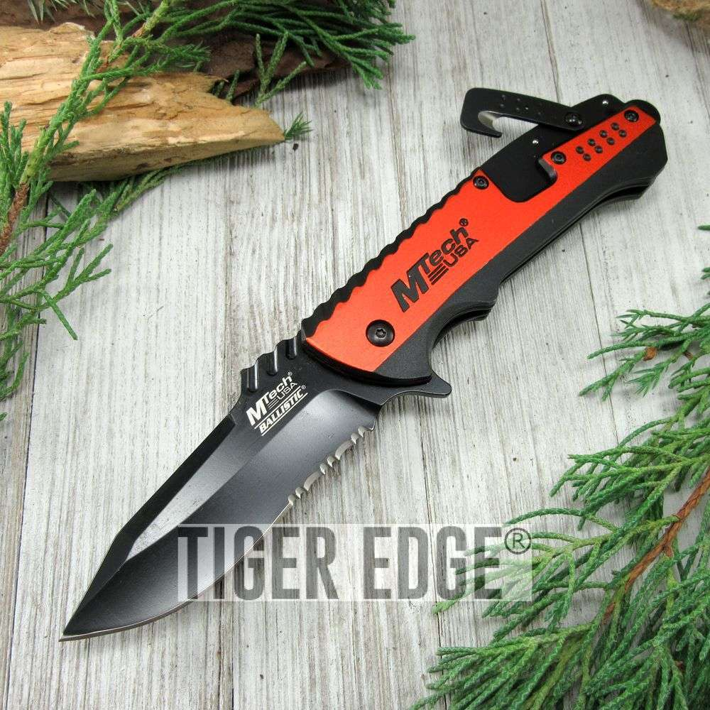 Spring-Assist Folding Pocket Knife Mtech Black Serrated Blade Orange Utility Edc