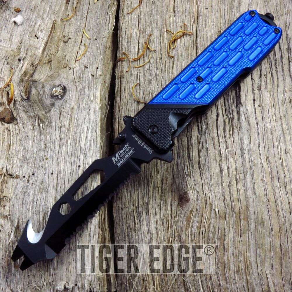 Spring-Assist Folding Pocket Knife Mtech Blue Bottle Opener Multi Tool Tactical