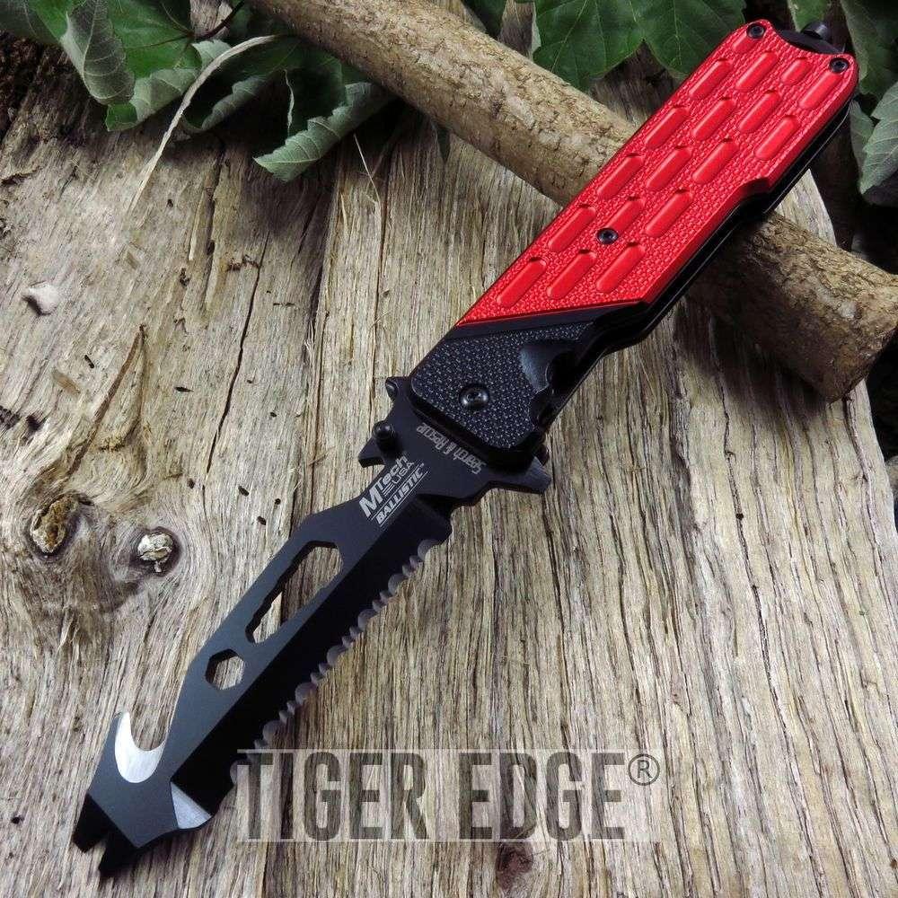 Spring-Assist Folding Pocket Knife Mtech Red Bottle Opener Multi Tool Tactical