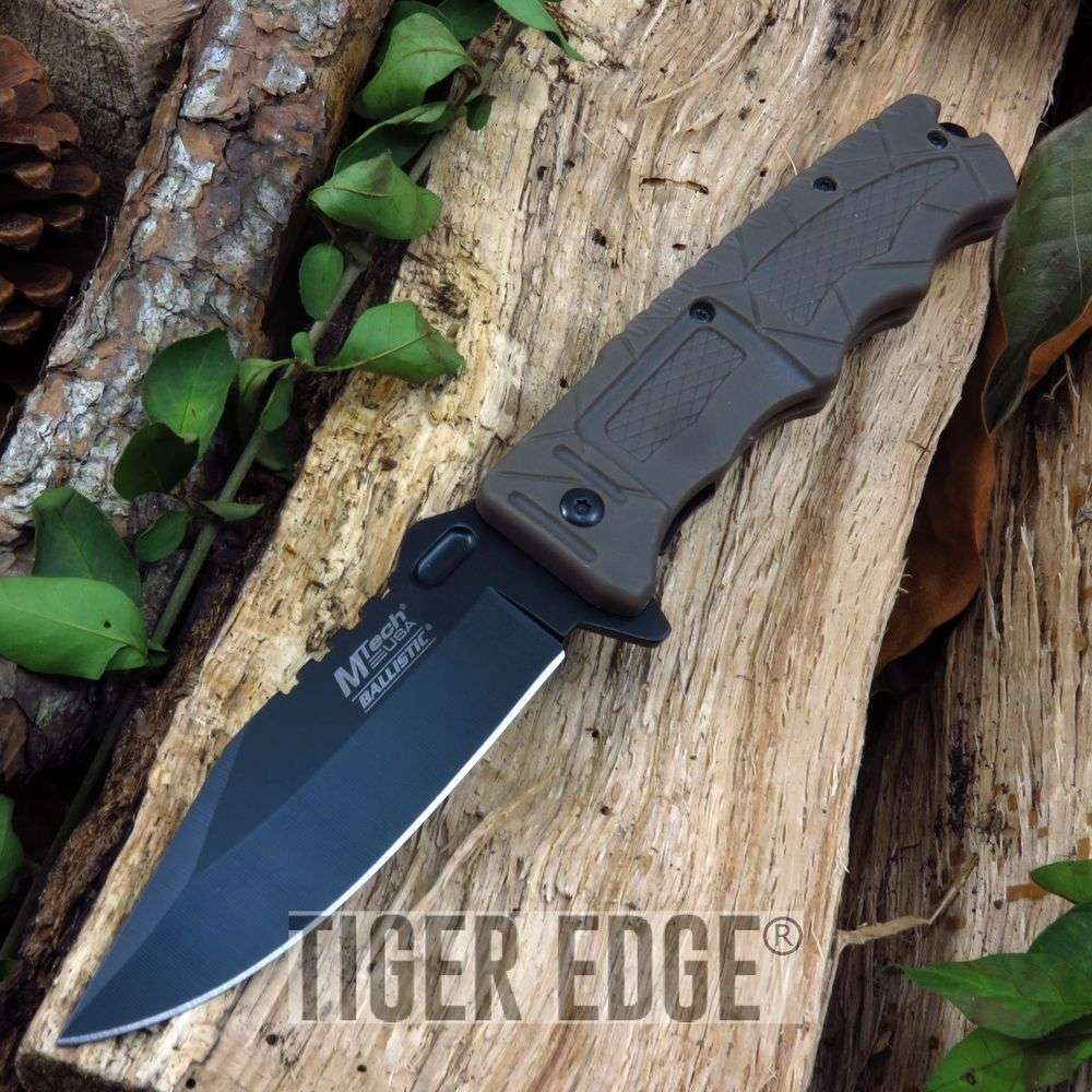 Spring Assist Folding Pocket Knife Mtech Brown Rescue Opening Switch Mt-A909Bn