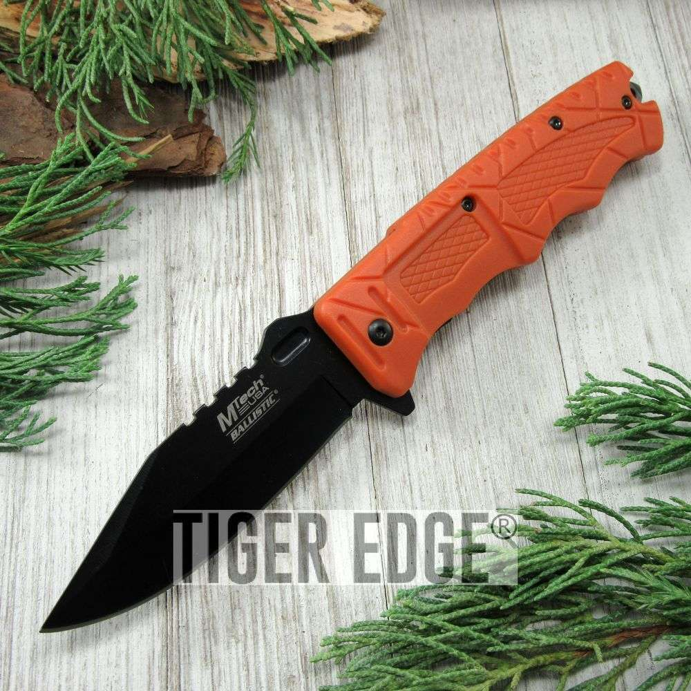Spring-Assist Folding Pocket Knife Mtech High-Visibility Orange Black Blade Edc