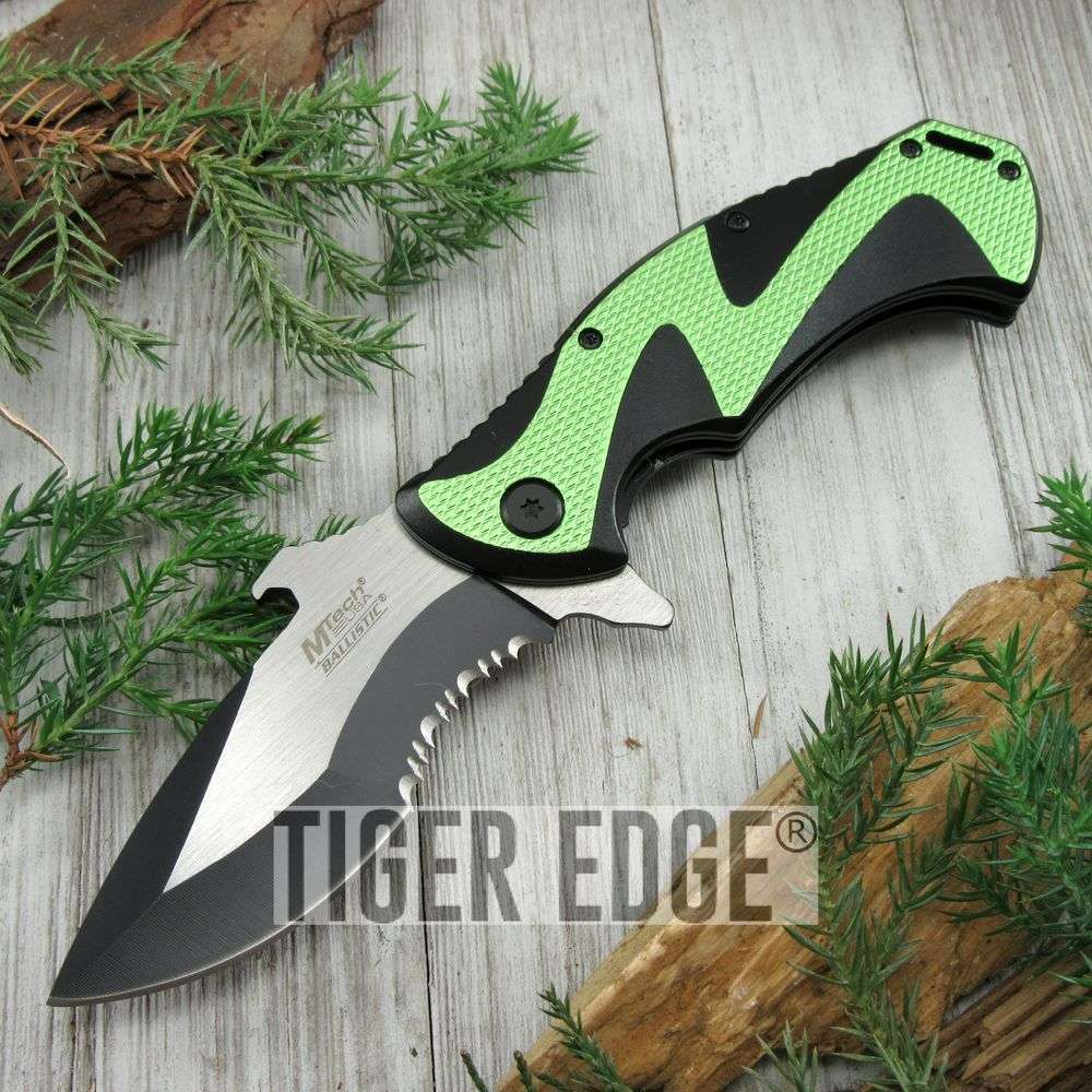 Spring-Assist Folding Pocket Knife Mtech Black Green Serrated Tac Bottle Opener