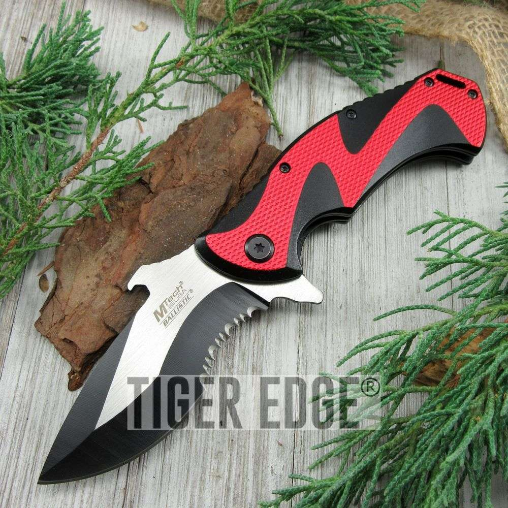 Spring-Assist Folding Pocket Knife Mtech Black Red Serrated Tac Bottle Opener