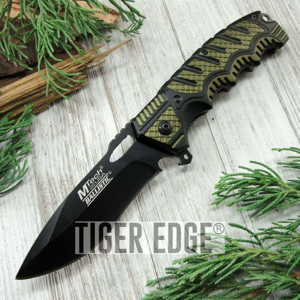 Spring-Assist Folding Pocket Knife Mtech Black Plain Blade Utility Army Green