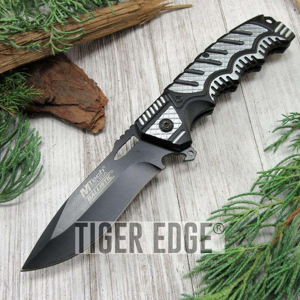 Spring-Assist Folding Pocket Knife Mtech Black Plain Blade Tactical Utility Gray
