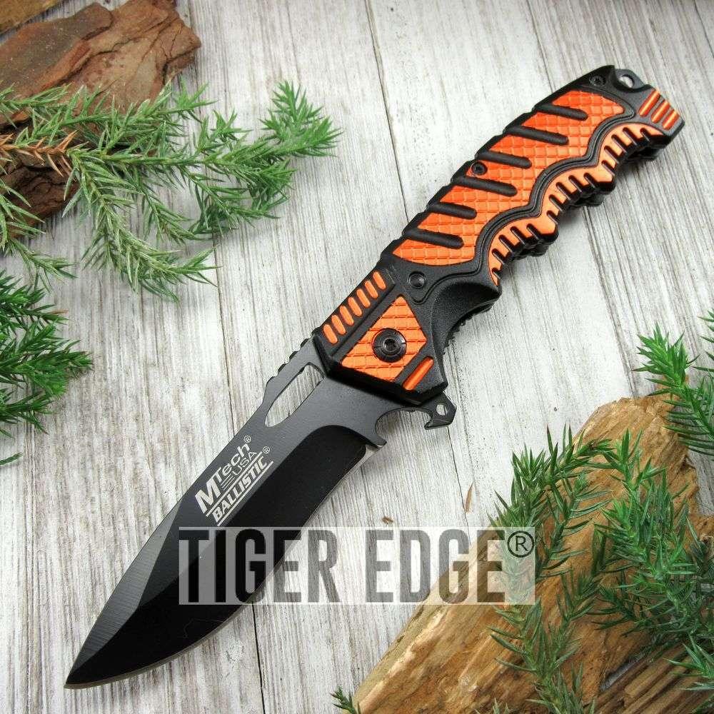 Spring-Assist Folding Pocket Knife Mtech Black Plain Blade Utility Orange