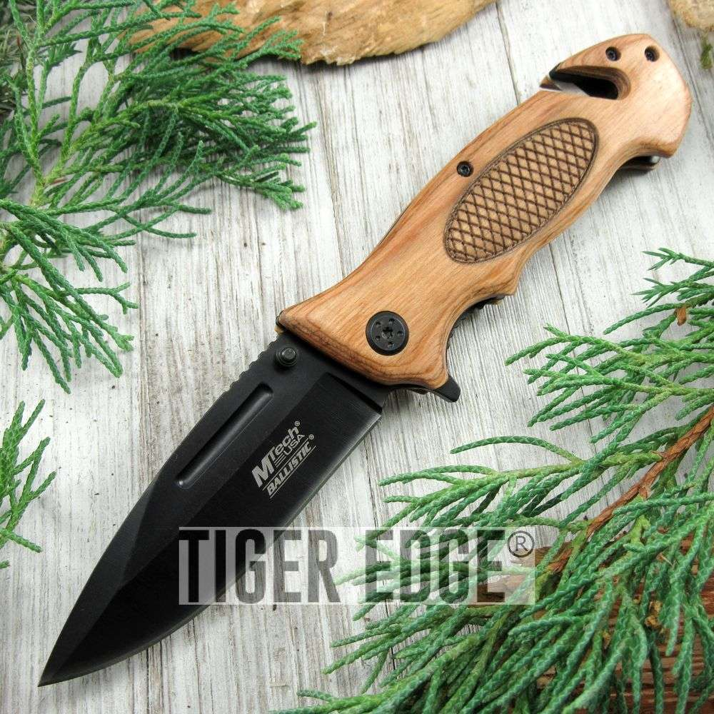 Spring-Assist Folding Pocket Knife Natural Wood Black Serrated Blade Rescue Edc