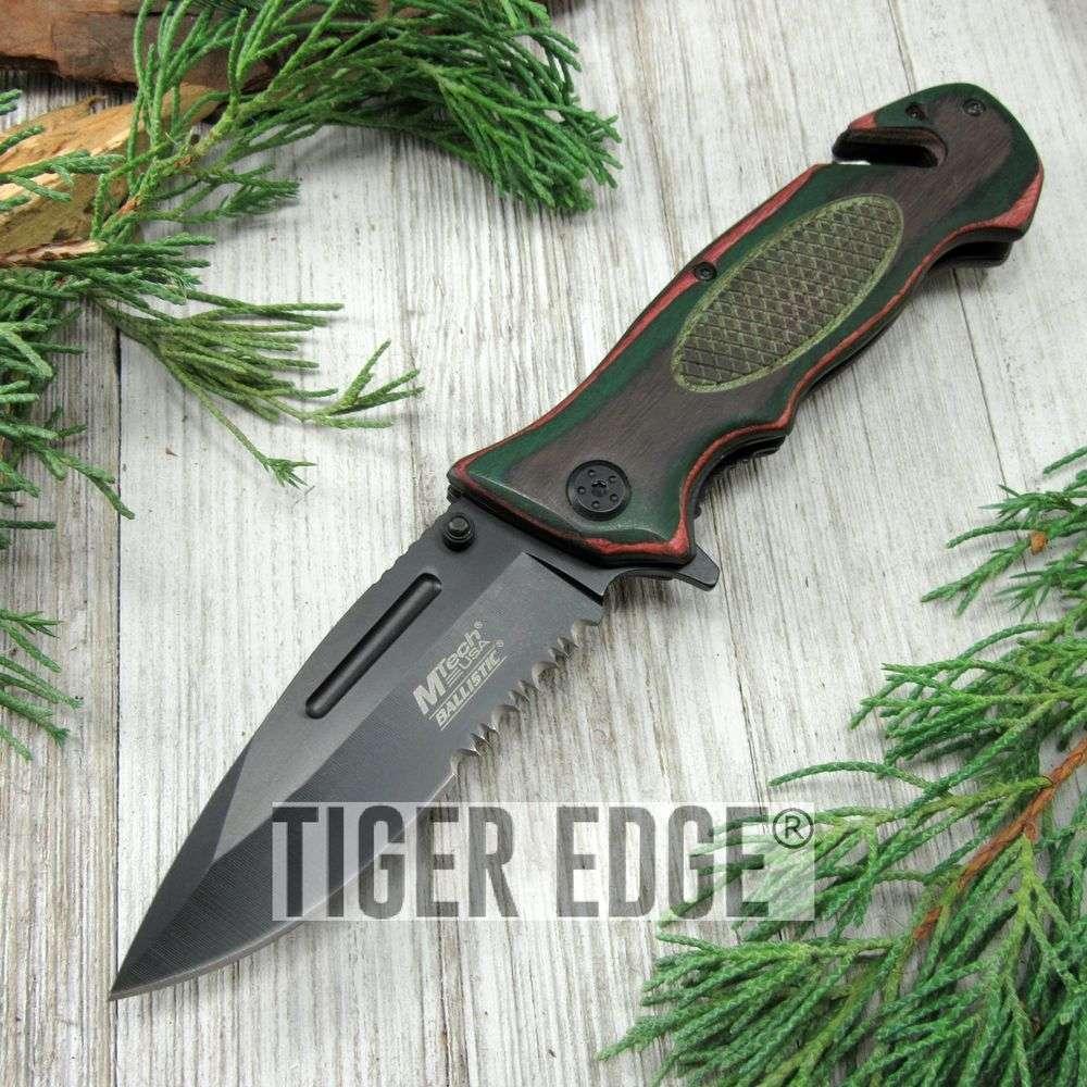 Spring-Assist Folding Pocket Knife Color Wood Black Serrated Blade Rescue Edc