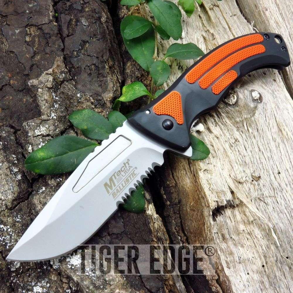Spring-Assist Folding Pocket Knife   Mtech Black Orange Emergency Tactical Edc