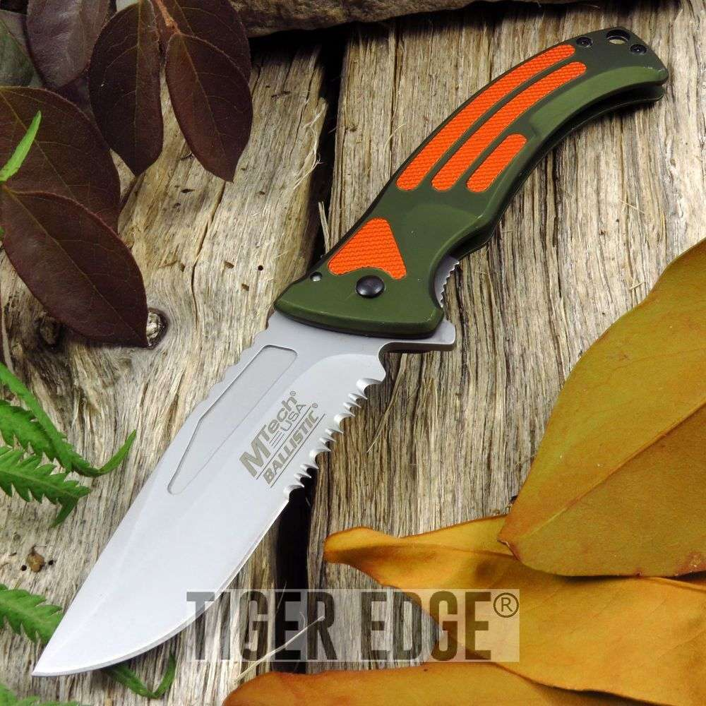 Spring-Assist Folding Pocket Knife | Mtech Orange Olive Emergency Tactical Edc