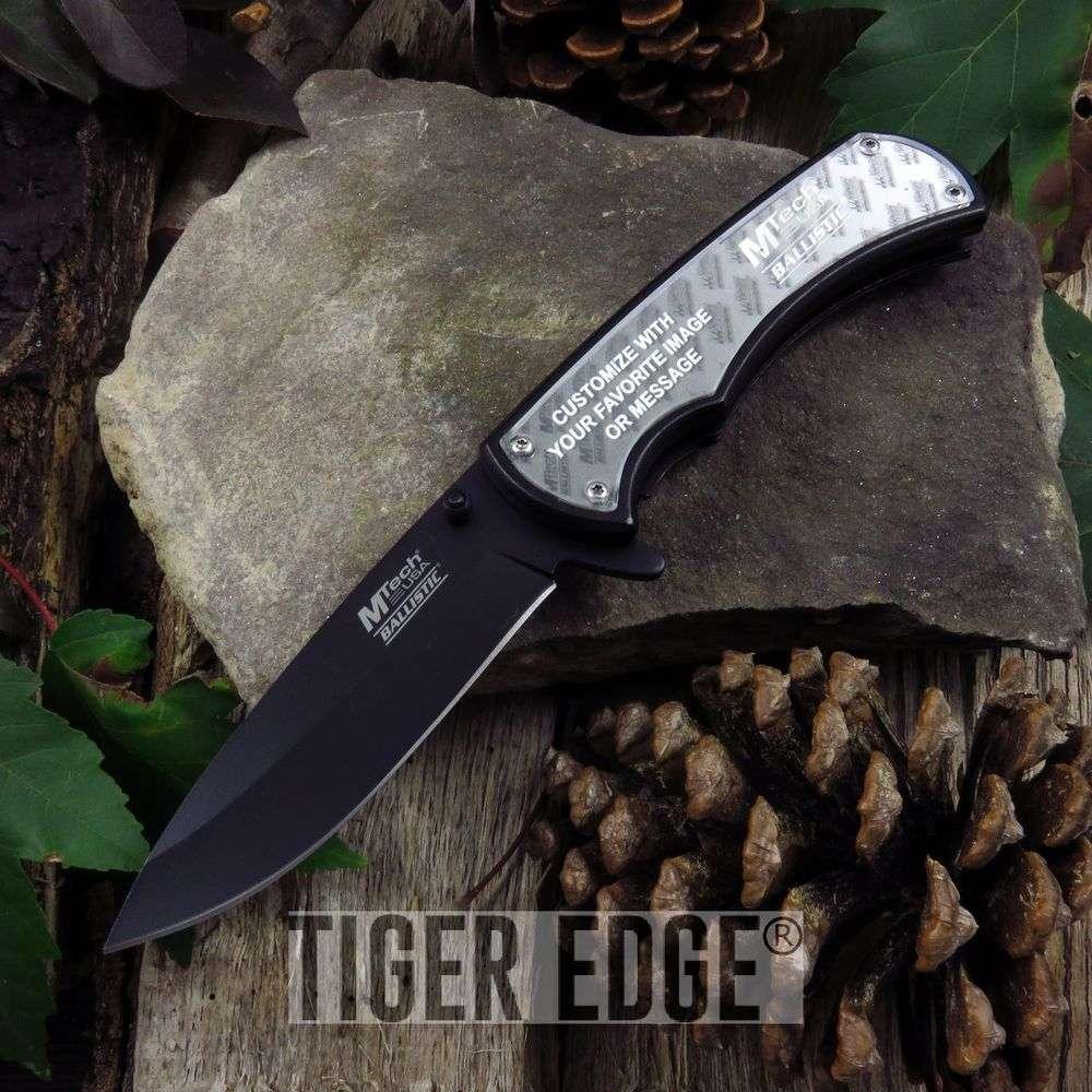 Spring-Assist Folding Pocket Knife Mtech Black Custom Diy Insert Photo Mt-A923Bk