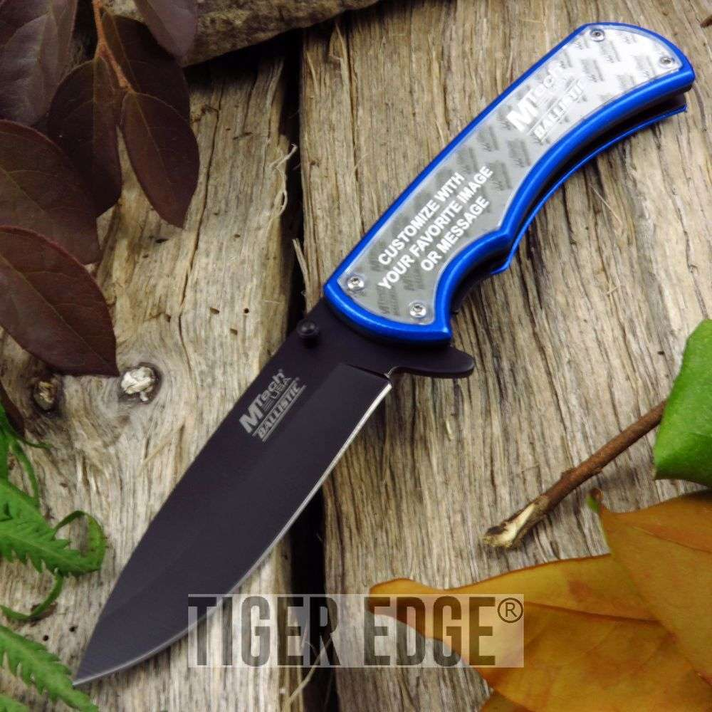 Spring-Assist Folding Pocket Knife Mtech Blue Customizable Diy Insert Photo A923