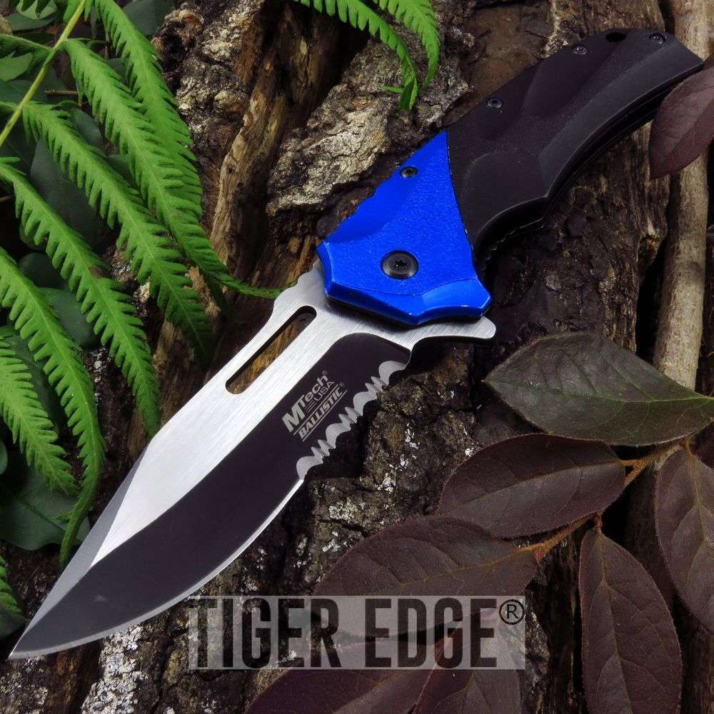 Spring-Assist Folding Pocket Knife Mtech Black Blue Serrated Military Tactical
