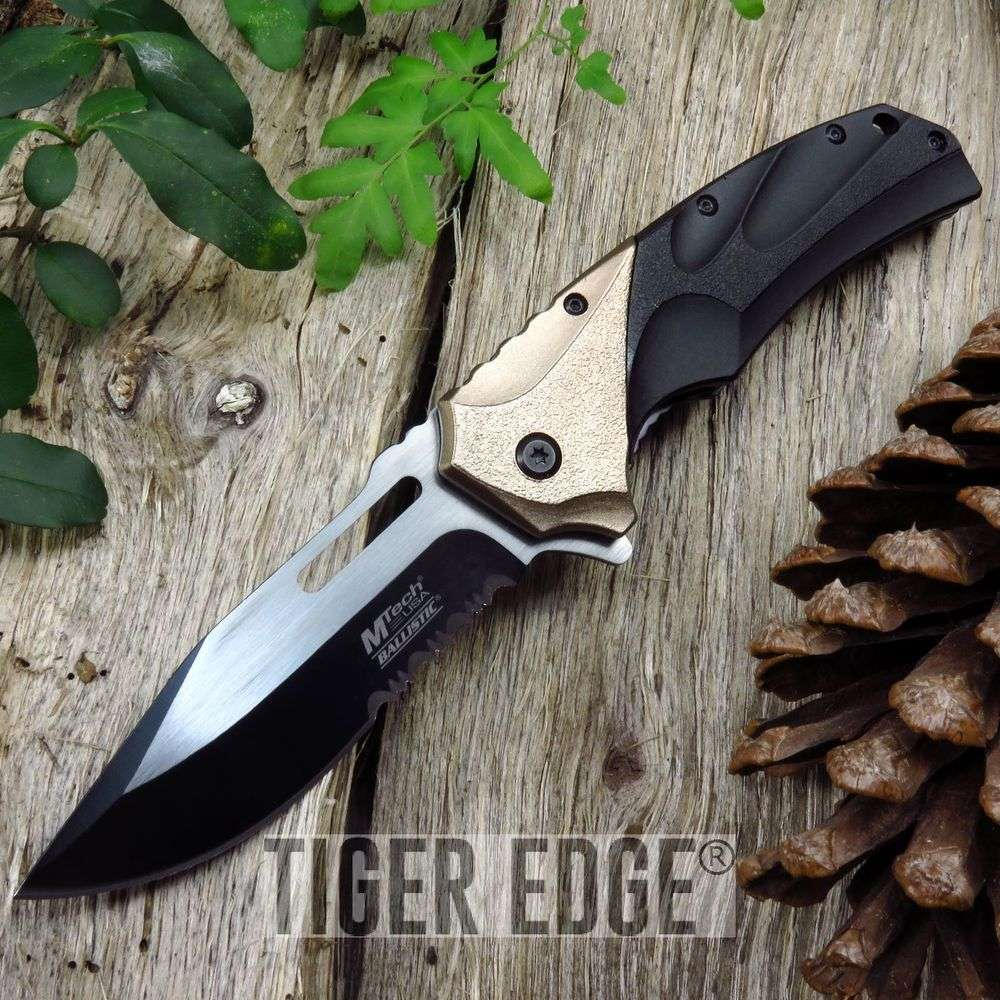 Spring-Assist Folding Pocket Knife Mtech Black Copper Serrated Military Tactical