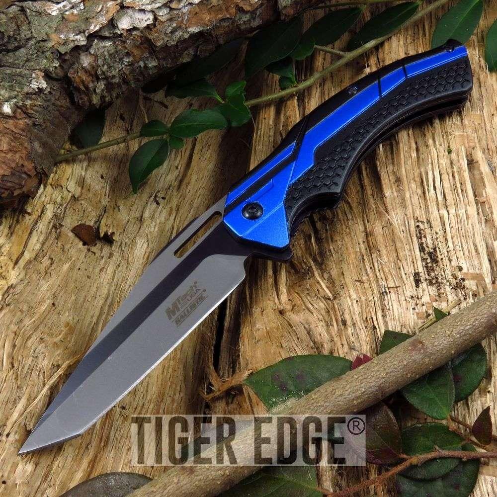 Spring-Assist Folding Pocket Knife Mtech Black Blue Tactical Tanto Blade 934Bl