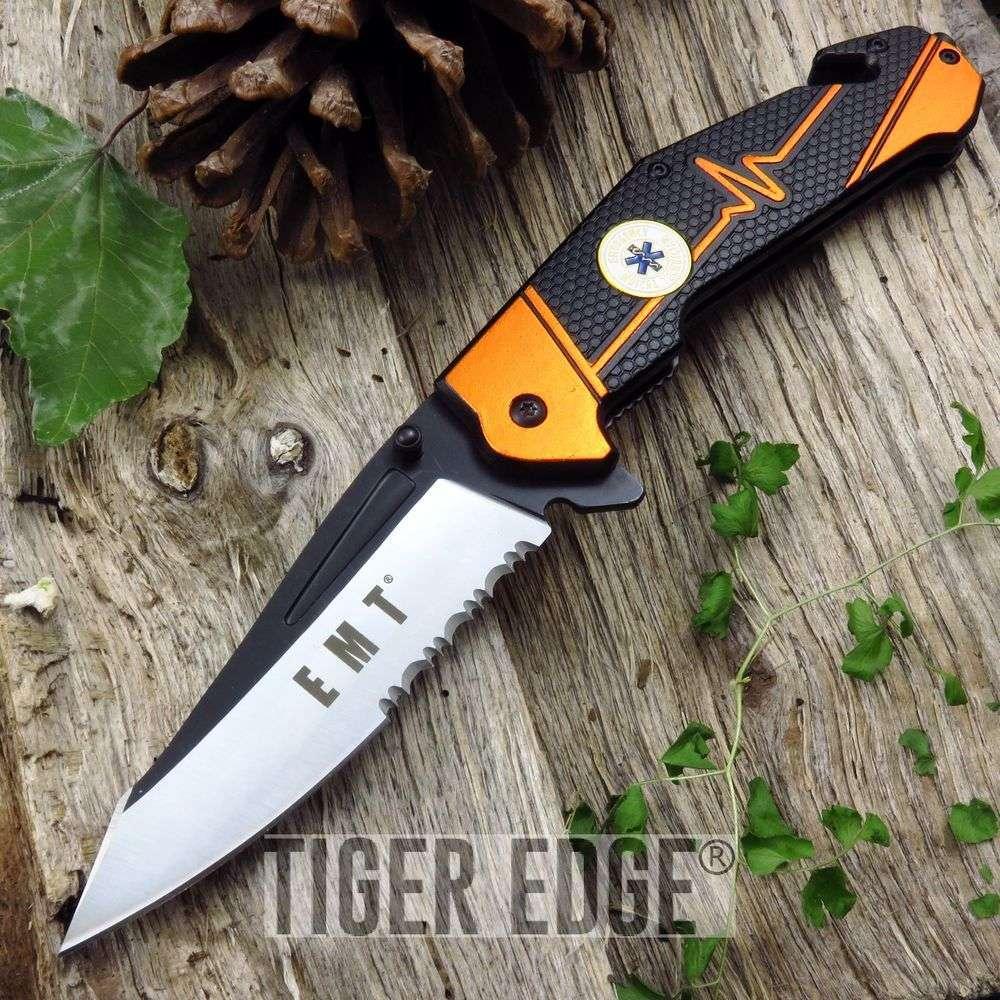 Spring-Assist Folding Pocket Knife Mtech Orange Black Emt Paramedic Rescue Edc