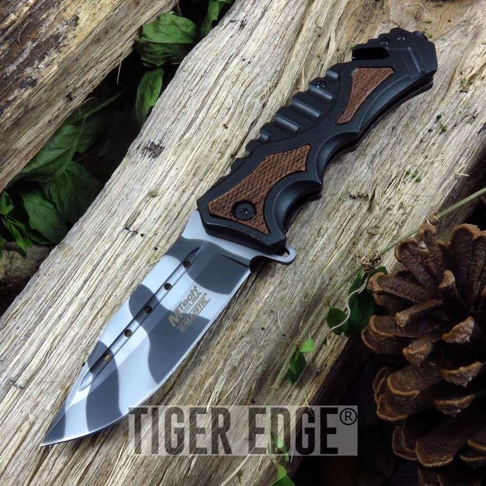 Spring-Assist Folding Pocket Knife Mtech Black Urban Camo Stripe Open Mt-A937Wu