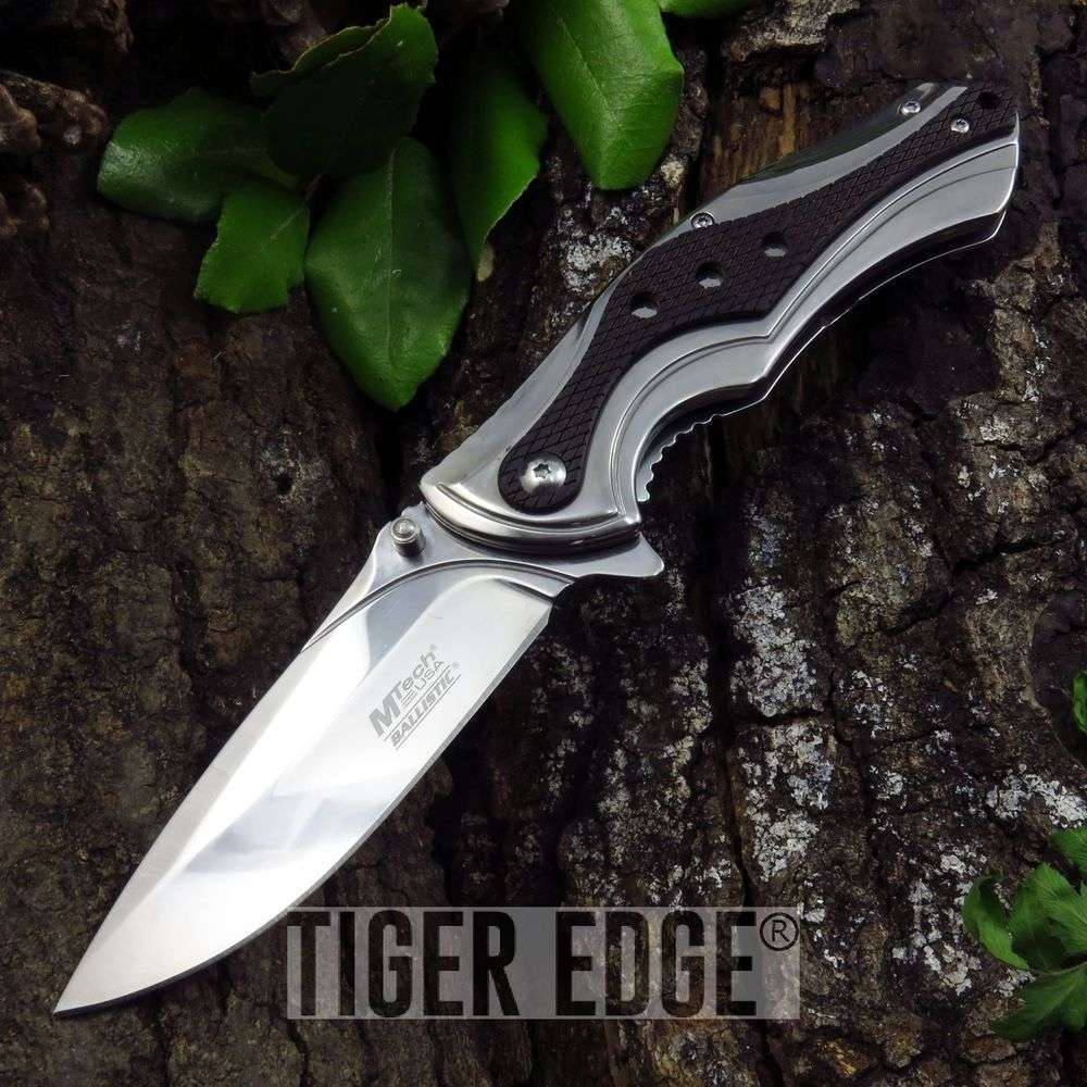Spring-Assist Folding Pocket Knife Mtech Black Mirror Reflect Tactical Mt-A938