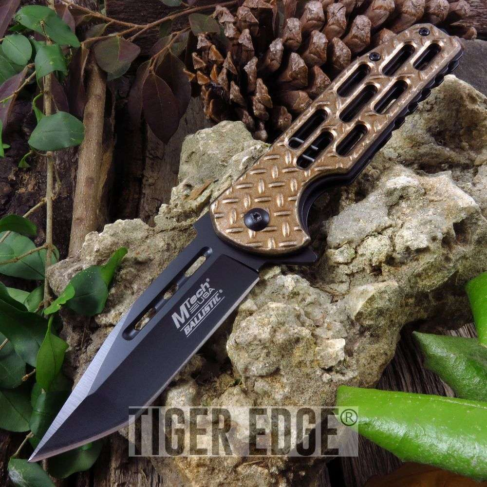 Spring-Assist Folding Pocket Knife Mtech Tan Diamond Tread Tactical Tanto