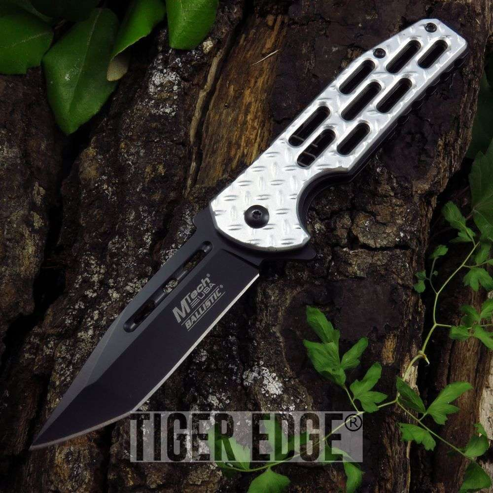 Spring-Assist Folding Pocket Knife Mtech Silver Diamond Tread Tactical Tanto