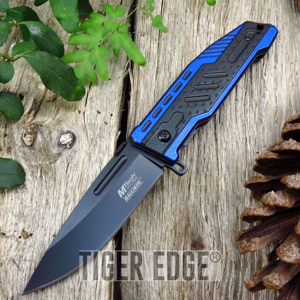 Spring Assist Folding Pocket Knife Mtech Blue Black Blade Tactical Edc Mt-A940Bl