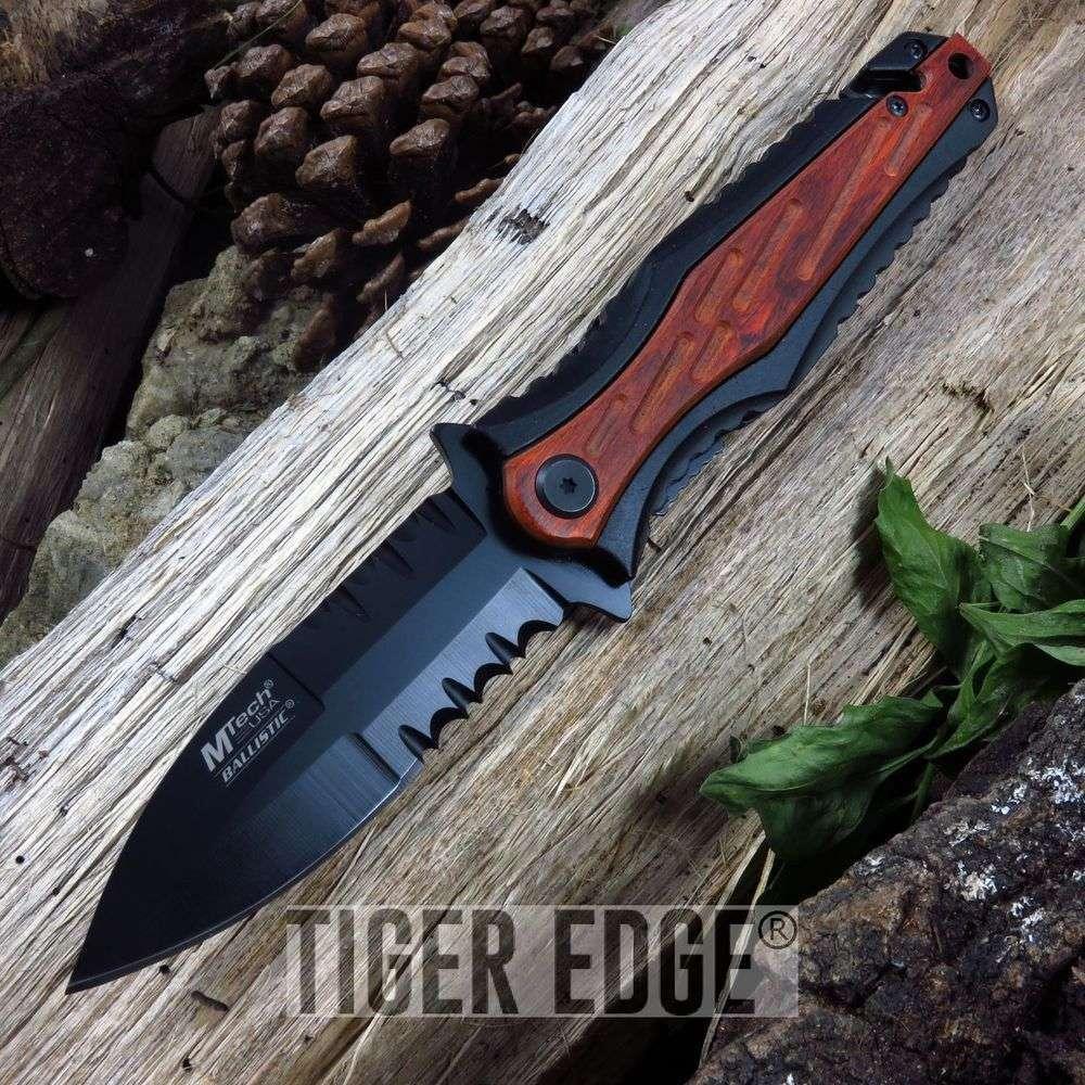 Spring-Assist Folding Pocket Knife Mtech Black Serrated Tactical Dagger Wood