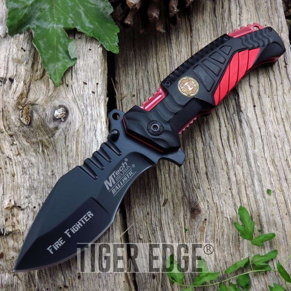 Spring-Assisted Folding Pocket Knife Mtech Black Red Firefighter Tactical Edc