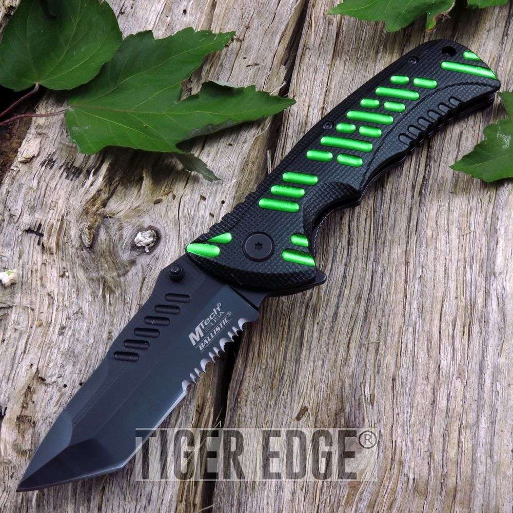 Spring-Assist Folding Pocket Knife Mtech Black Green Tactical Edc Mt-A946Bgn