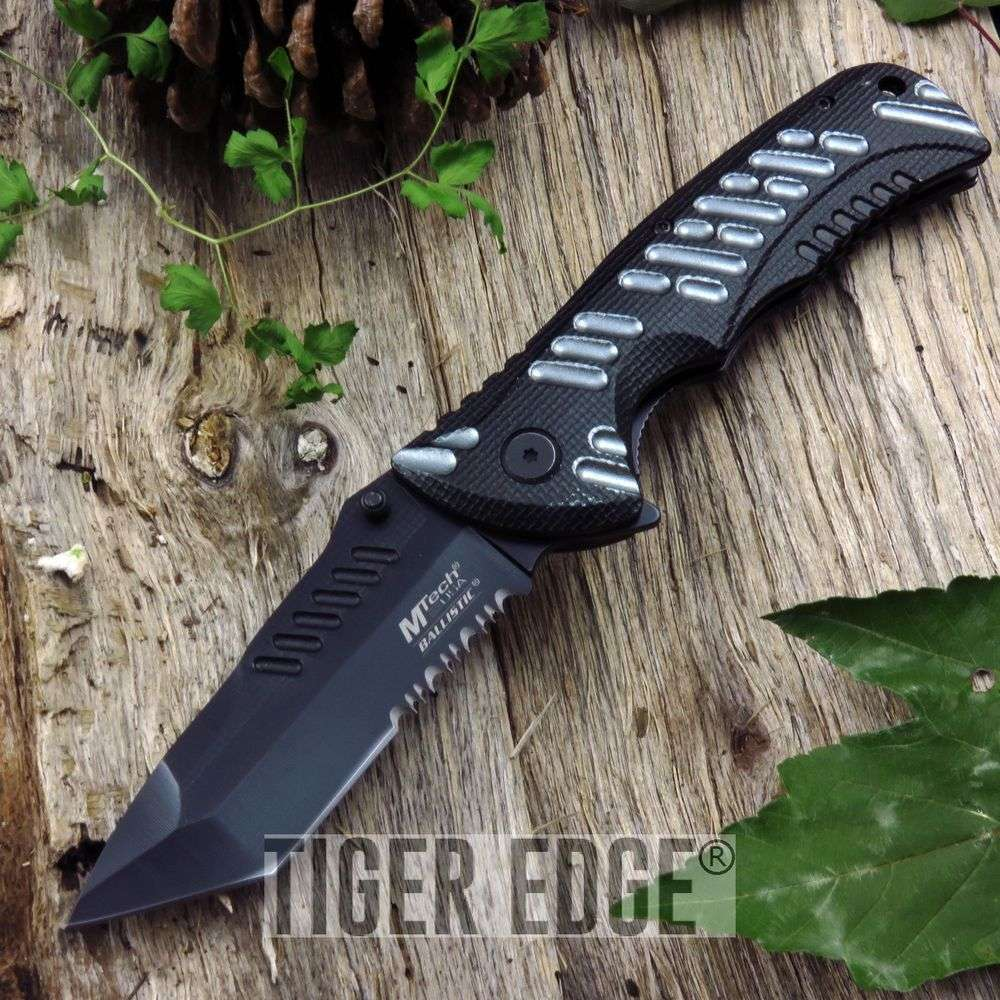 Spring-Assist Folding Pocket Knife Mtech Black Grey Tactical Edc Mt-A946Bgy