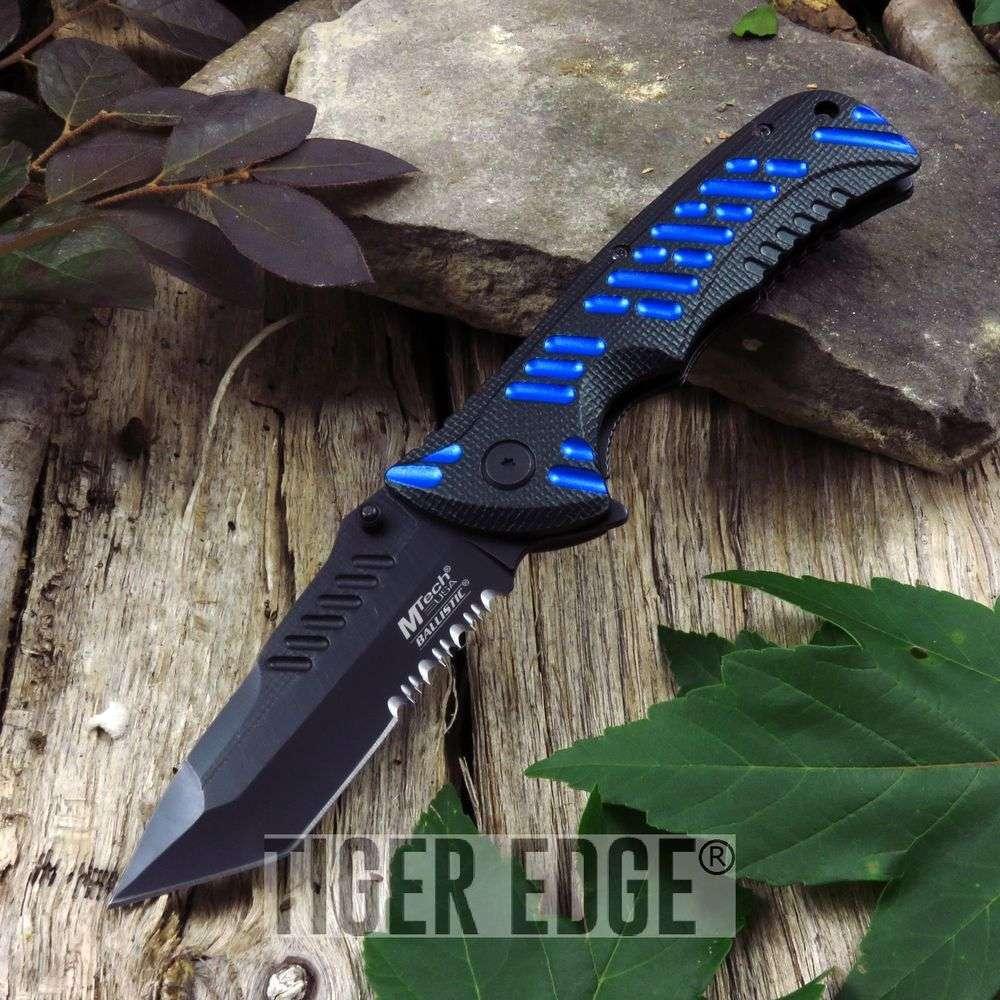 Spring-Assist Folding Pocket Knife Mtech Black Blue Tactical Serrated Mt-A946Bl