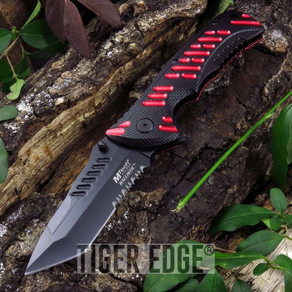 Spring-Assist Folding Pocket Knife Mtech Black Red Tactical Serrated Mt-A946Brd