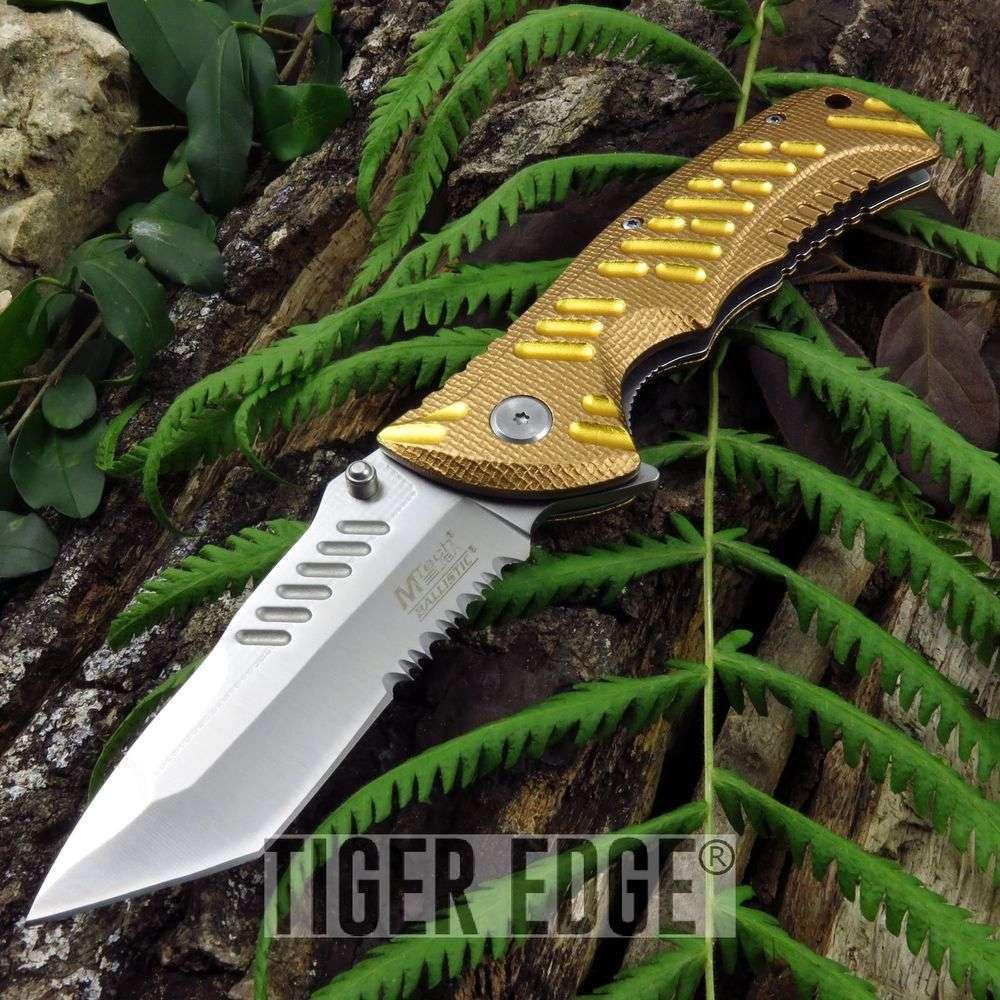 Spring-Assist Folding Pocket Knife Mtech Tan Gold Tactical Serrated Mt-A946Dt