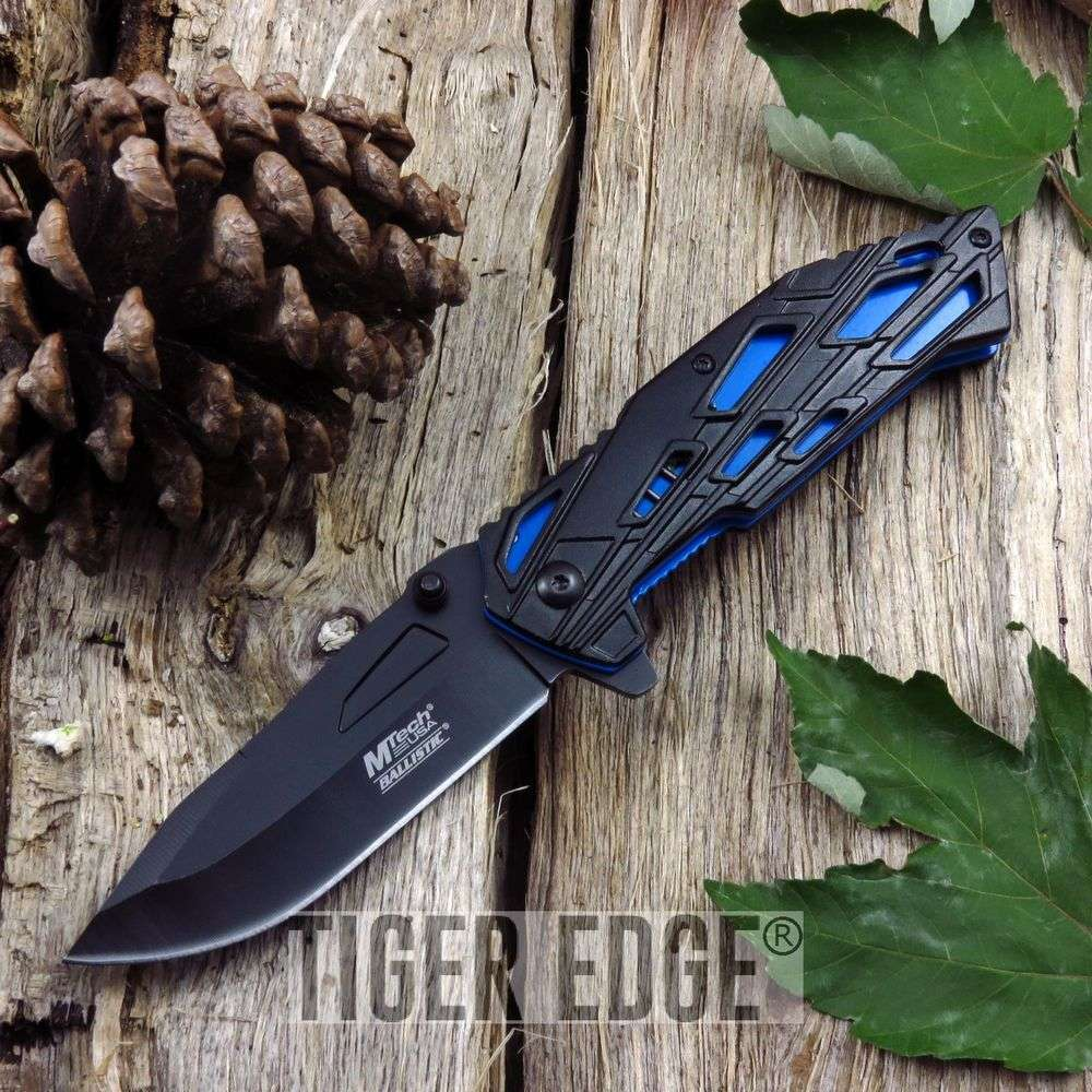 Spring-Assisted Folding Pocket Knife Mtech Black Blade Blue Future Tech Tactical
