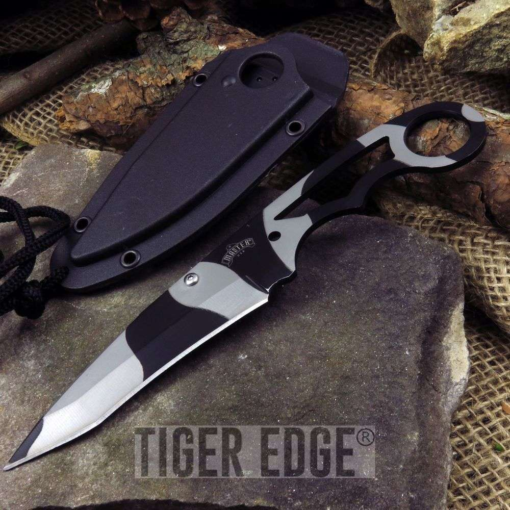 "7"" Stainless Steel Urban Camo Tanto Blade Neck Knife W/ Hard Sheath"