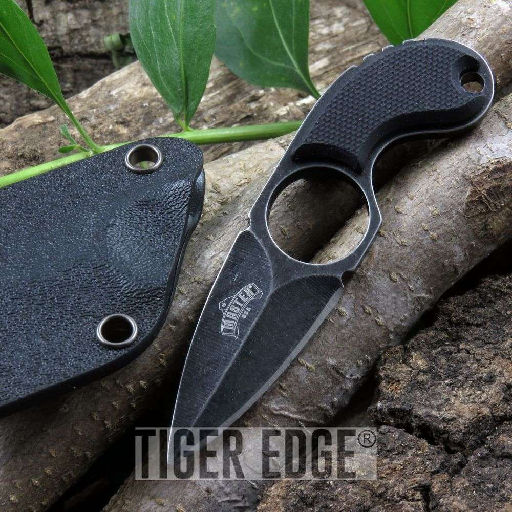 Mini  Double Edge Neck Knife Full Tang Black G10 W/ Slim Kydex Sheath