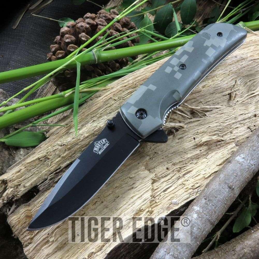 Green Army Digital Camo Spring-Assisted Folding Pocket Knife