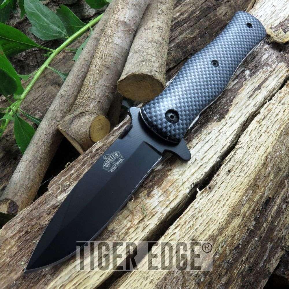 Carbon Fiber Style Spring-Assisted Folding Pocket Knife