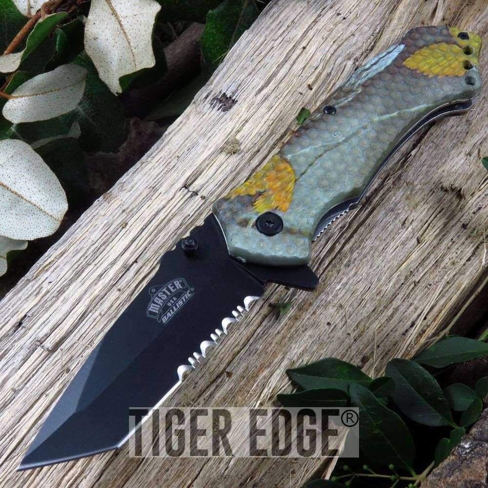 Real Camo Black Tanto Serrated Spring-Assist Hunting Folding Pocket Knife