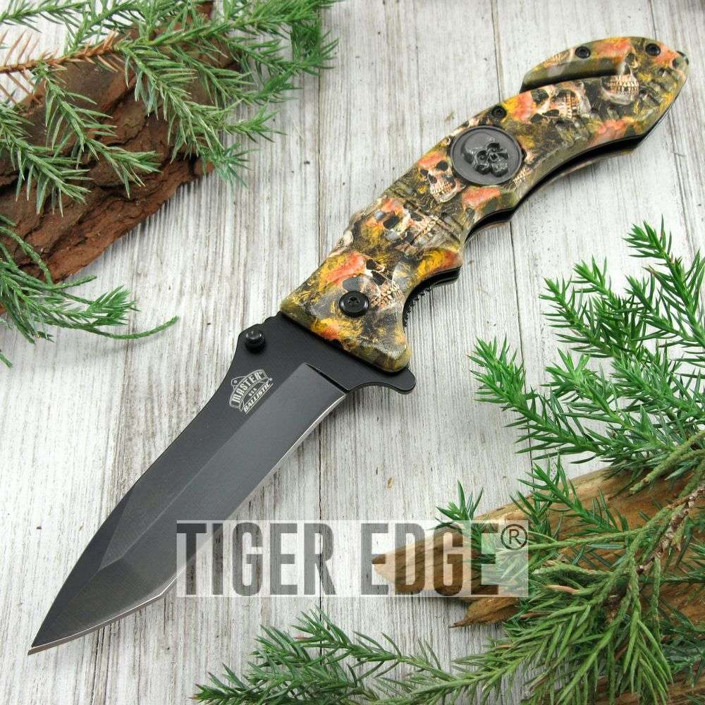 Spring-Assist Folding Pocket Knife Black Tanto Blade Orange Skull Tactical Edc