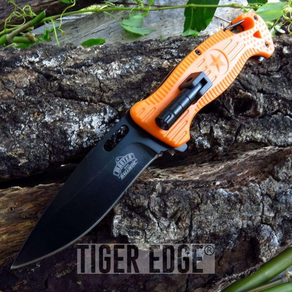 Spring-Assist Folding Pocket Knife Orange Black Blade Tactical Rescue Led Light