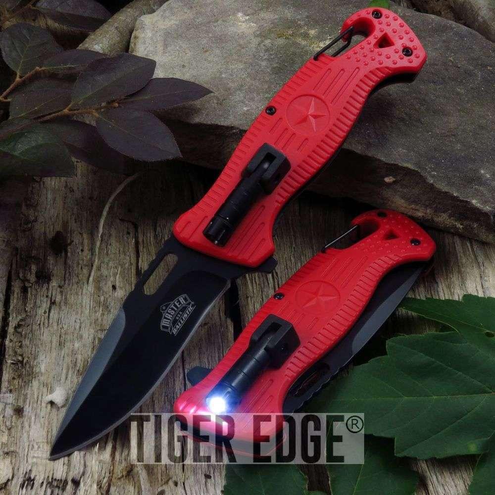 Spring-Assist Folding Pocket Knife Red Black Blade Tactical Rescue Led Light