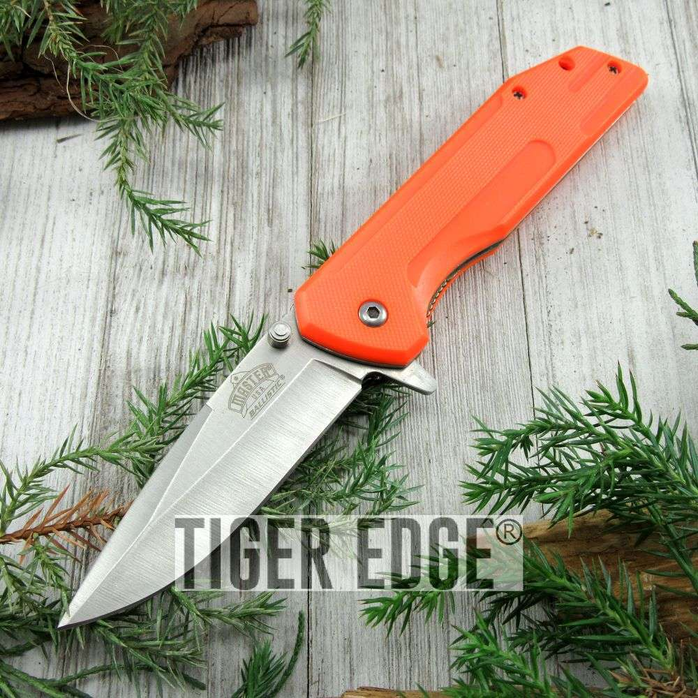 Spring-Assist Folding Pocket Knife Silver Blade Orange Standard Everyday Carry