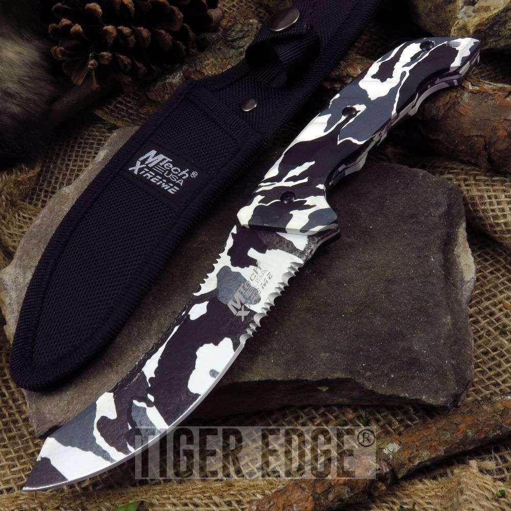 "Mtech Extreme 9.5"" Winter White Camo Double Serrated Fixed Blade Knife"
