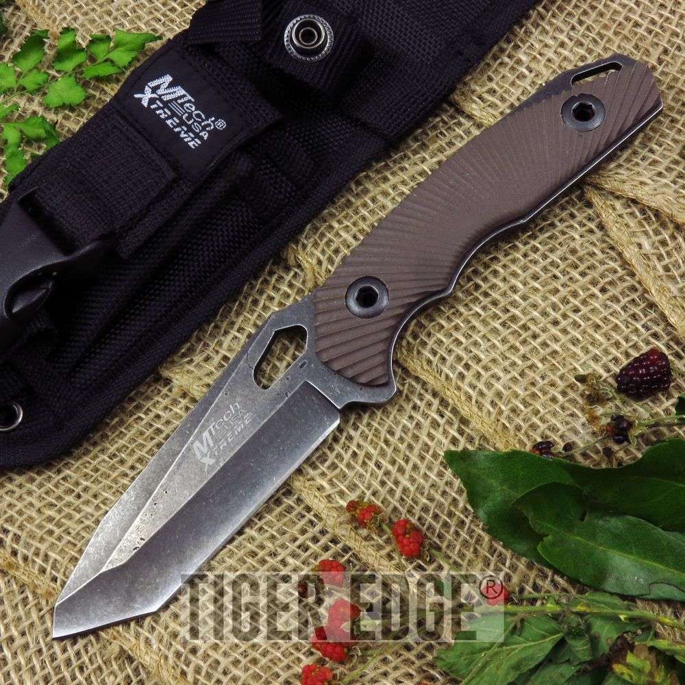 FIXED BLADE KNIFE Mtech Tactical Brown Stonewash Combat EDC Full Tang MX-8110BN